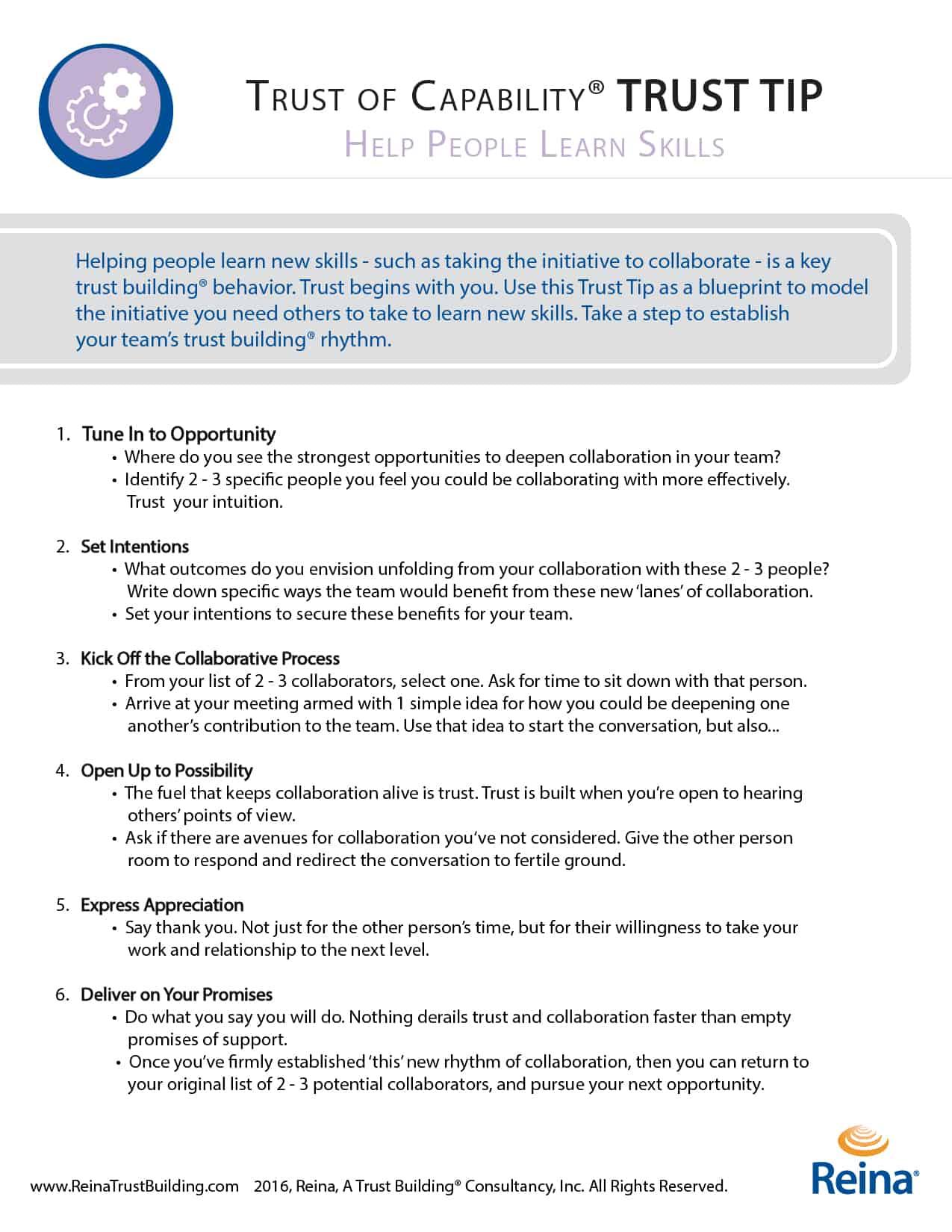 help people learn skills build trust at work part 3 reina your trust tip help people learn new skills