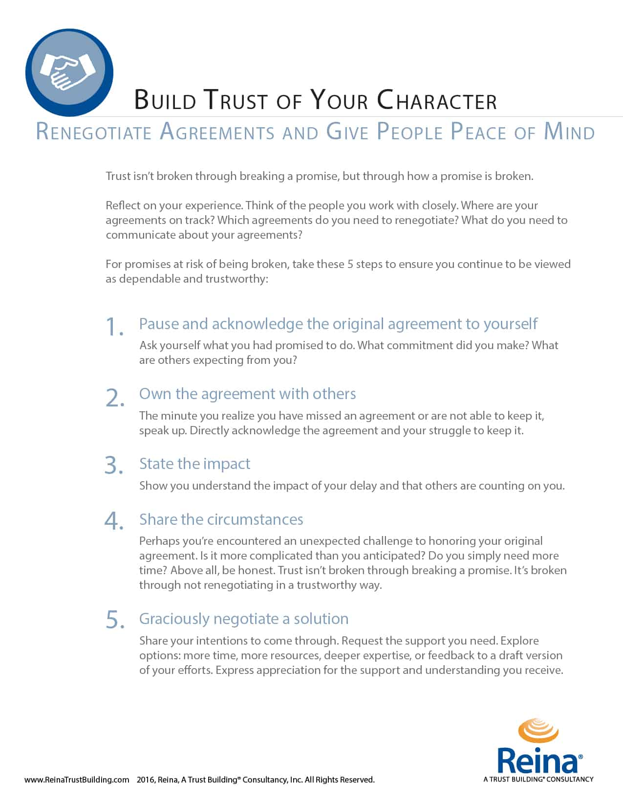 give people peace of mind build trust at work part reina 5 steps to renegotiate your agreements and build trust