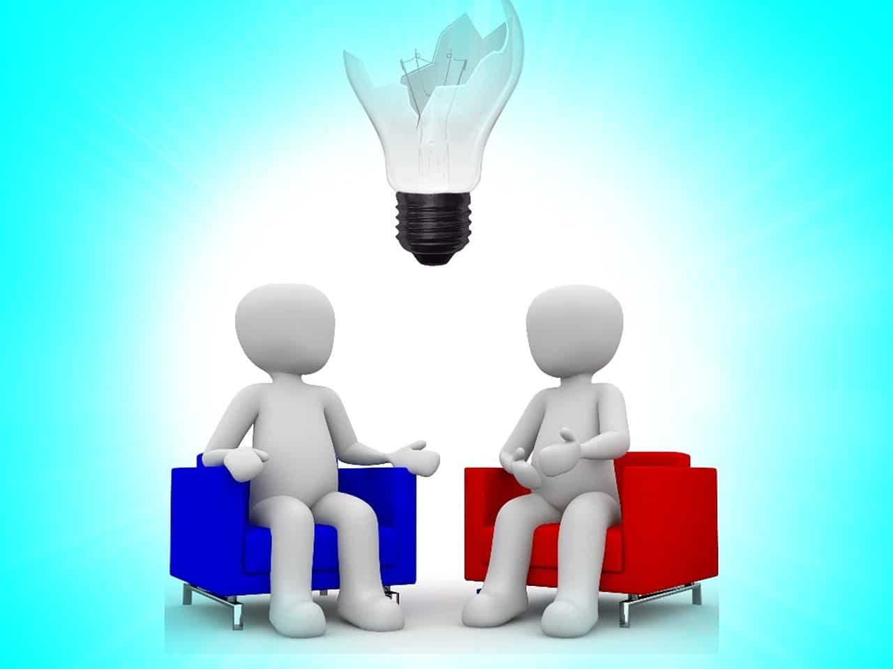 two figures with a broken idea bulb - teamwork